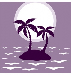 tropical palm island vector image