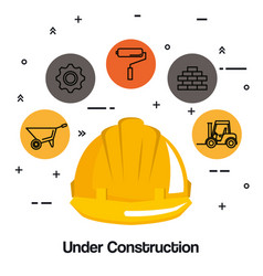 under construction helmet hard work tools icon vector image