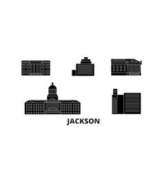 United states jackson flat travel skyline set vector