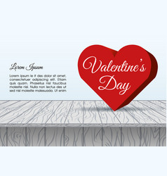 valentines day background with big 3d hearts vector image