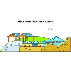 Villa romana del casale line travel landmar vector