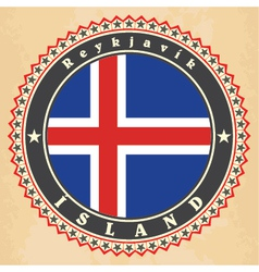 Vintage label cards of iceland flag vector