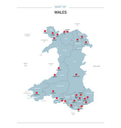Wales map with red pin vector