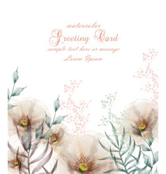 Watercolor flowers frame blossom card vector