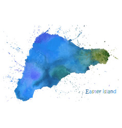 Watercolor map easter island stylized image vector