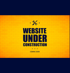 Website under construction sign on a brick wall vector