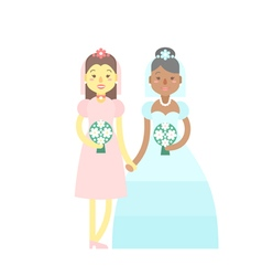 Wedding couple Cute flat characters brides vector image