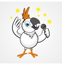 White funny cartoon hilarious parrot with vector image