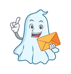 with envelope cute ghost character cartoon vector image