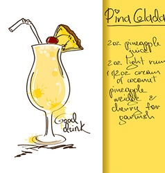 with Pina Colada cocktail vector image