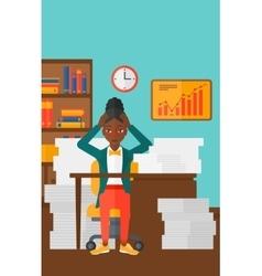 Woman in despair sitting in office vector