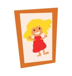 Wooden vintage picture photo frame with girl flat vector image