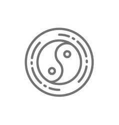 Yin yang sign chinese symbol line icon vector