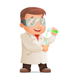 young cute scientist test-tube icon retro 3d vector image