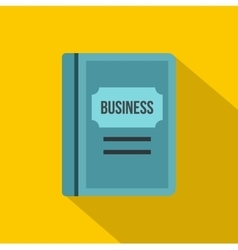 Blue business book icon flat style vector image vector image