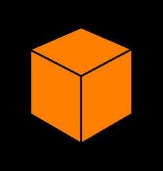 cube sign orange icon on black vector image
