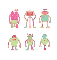 Cute colorful robot icon set vector