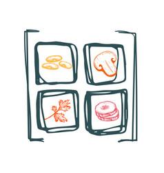 healthy vegan food hand drawn icon set vector image vector image
