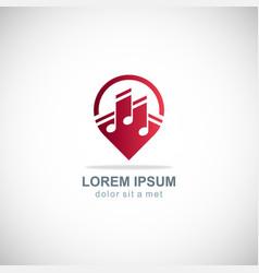 music note media logo vector image
