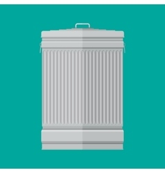Steel street trash can on green background vector image vector image