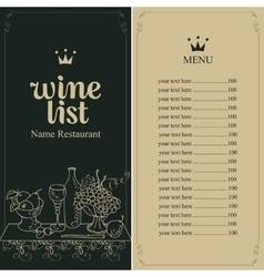 wine menu list vector image