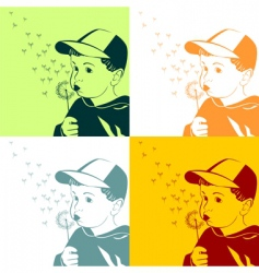 boy with dandelion vector image vector image