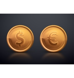 Coin Dollar and Euro vector image vector image