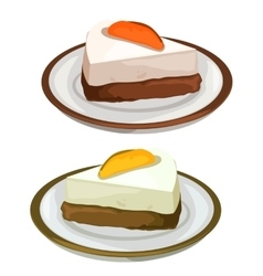 Delicious cheesecake with fruits dessert on plate vector