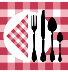 menu design with cutlery silhouettes vector image