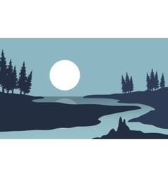 Silhouette of river and moon landscape vector image vector image
