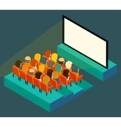Empty cinema screen with audience isometric in vector