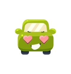 In Love Green Car Emoji vector image vector image