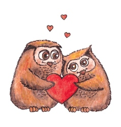 owls in love with heart watercolor vector image vector image