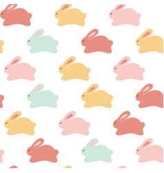 seamless bunny pattern on white background vector image vector image