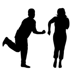 Silhouettes of dancing men and women vector image vector image