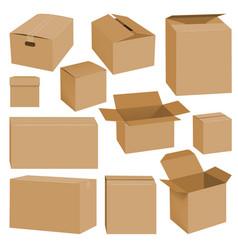 cardboard box mockup set realistic style vector image vector image