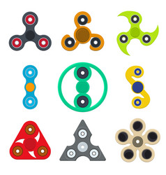 cartoon spinner toy color icons set vector image
