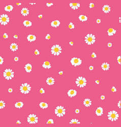 pink yellow daisies ditsy seamless pattern vector image