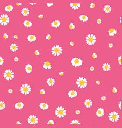 pink yellow daisies ditsy seamless pattern vector image vector image