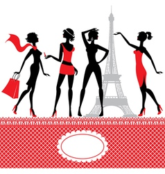 Set of silhouettes of fashionable girls vector image vector image