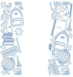 vertical seamless borders of education items vector image