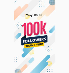 100k followers story post background template vector image