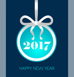2017 happy new year round banner with golden bow vector image