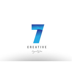 7 seven blue gradient number numeral digit logo vector