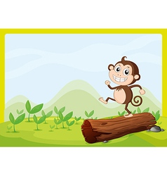 A monkey dancing on dry wood vector image
