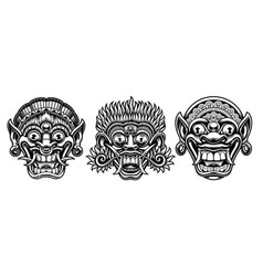 a set black and white traditional vector image