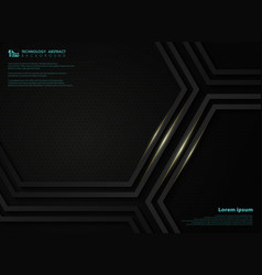 abstract black metallic technology hexagon vector image