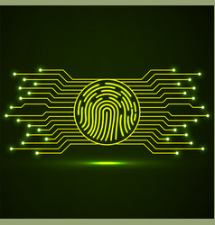 abstract neon sign fingerprint with circuit board vector image