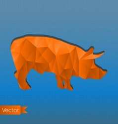 Abstract triangular stamp orange pig vector image