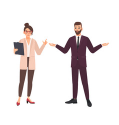 Angry female boss and male employee making excuses vector